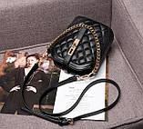 Маленькая сумка для девушки эко кожа, модная и стильная женская мини сумочка клатч стеганная, фото 6
