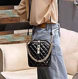 Маленькая сумка для девушки эко кожа, модная и стильная женская мини сумочка клатч стеганная, фото 7