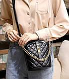Маленькая сумка для девушки эко кожа, модная и стильная женская мини сумочка клатч стеганная, фото 9