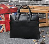 Мужская сумка для документов через плечо мужской деловой портфель эко кожа А4 формат, фото 4