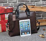 Мужская сумка для документов через плечо мужской деловой портфель эко кожа А4 формат, фото 9