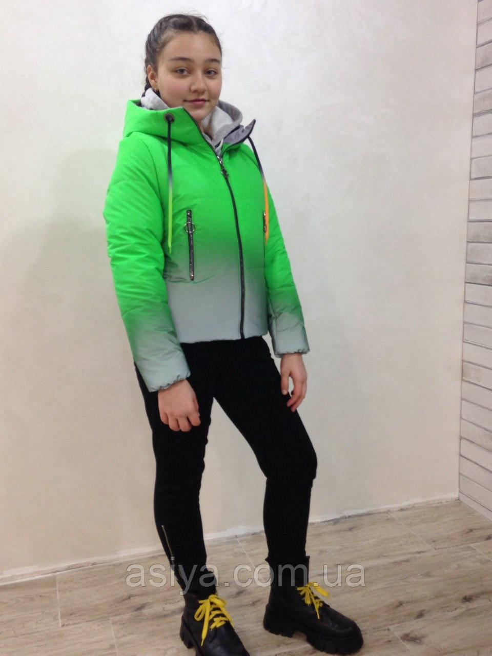 Весняна куртка веселка на дівчинку Зелена