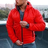 Мужская красная осенняя куртка с капюшоном
