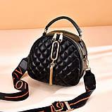 Женская мини сумочка клатч стеганная, маленькая сумка для девушки кожаная модная и стильная, фото 3