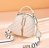 Женская мини сумочка клатч стеганная, маленькая сумка для девушки кожаная модная и стильная, фото 6