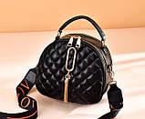 Женская мини сумочка клатч стеганная, маленькая сумка для девушки кожаная модная и стильная, фото 9