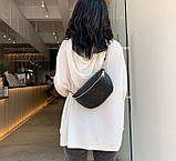 Модна бананка сумка слінг жіноча на пояс, поясна маленька сумочка жіноча сумка-бананка еко шкіра стьобаний, фото 2