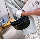 Модна бананка сумка слінг жіноча на пояс, поясна маленька сумочка жіноча сумка-бананка еко шкіра стьобаний, фото 3