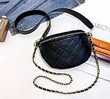 Модна бананка сумка слінг жіноча на пояс, поясна маленька сумочка жіноча сумка-бананка еко шкіра стьобаний, фото 4