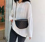 Модна бананка сумка слінг жіноча на пояс, поясна маленька сумочка жіноча сумка-бананка еко шкіра стьобаний, фото 5