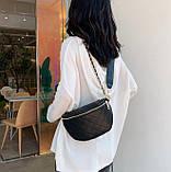 Модна бананка сумка слінг жіноча на пояс, поясна маленька сумочка жіноча сумка-бананка еко шкіра стьобаний, фото 6