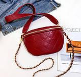 Модна бананка сумка слінг жіноча на пояс, поясна маленька сумочка жіноча сумка-бананка еко шкіра стьобаний, фото 9