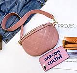 Модна бананка сумка слінг жіноча на пояс, поясна маленька сумочка жіноча сумка-бананка еко шкіра стьобаний, фото 10