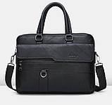 Стильный мужской деловой портфель для документов формат А4 мужская сумка для планшета ноутбука, фото 3