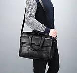 Стильный мужской деловой портфель для документов формат А4 мужская сумка для планшета ноутбука, фото 4