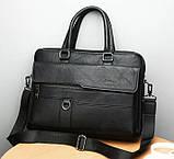 Стильный мужской деловой портфель для документов формат А4 мужская сумка для планшета ноутбука, фото 5