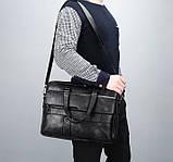 Стильный мужской деловой портфель для документов формат А4 мужская сумка для планшета ноутбука, фото 6
