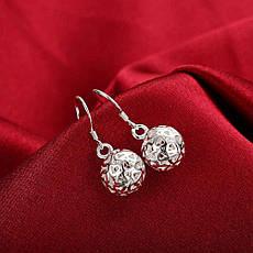 Женские серьги Резные шарики покрытие серебро, фото 3