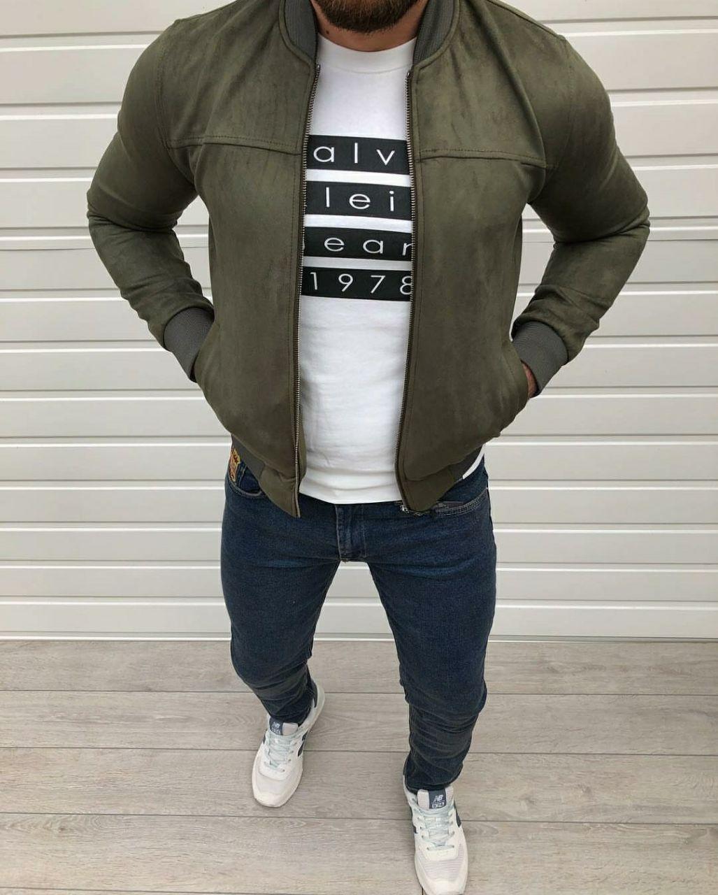 Чоловіча весняна замшева куртка-бомбер