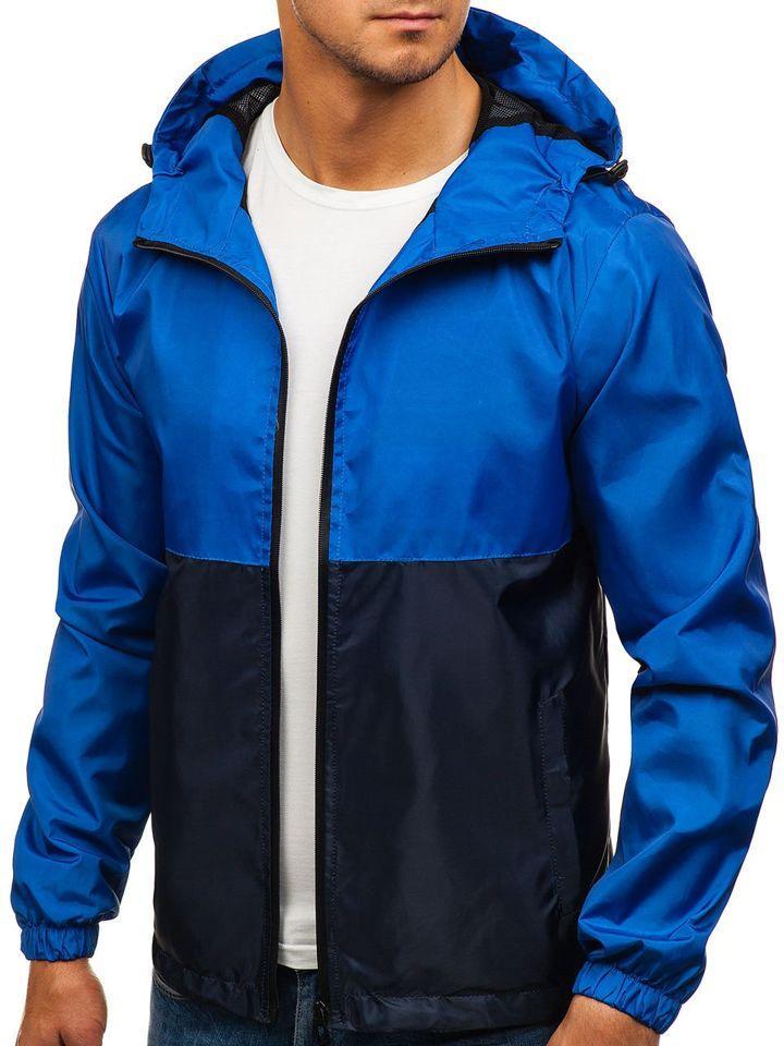Чоловіча весняна синя куртка вітровка