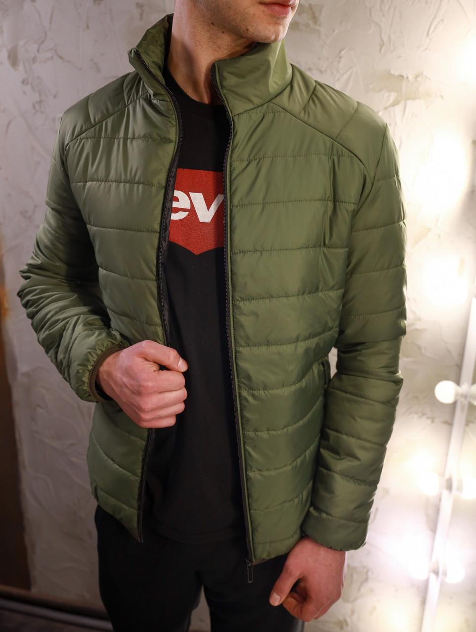 Мужская демисезонная зеленая утепленная куртка