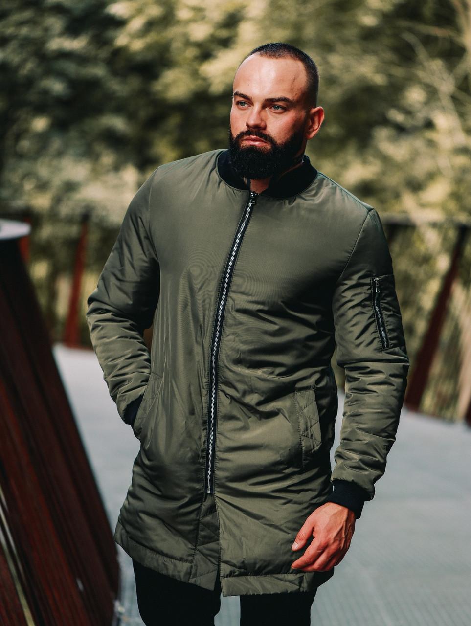 Чоловіча подовжена куртка весняна бомбер хакі