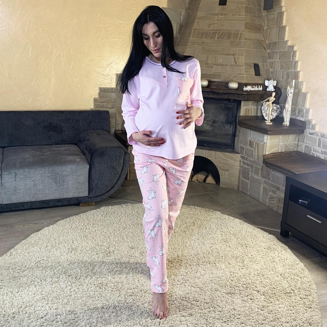 Тепла жіноча піжама для вагітних з маскою розова 48-56р