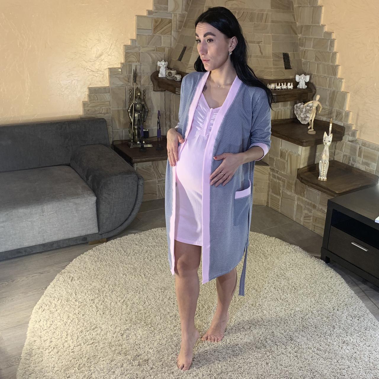 Набор теплый халат с ночной рубашкой для кормящих мам серый р. 42-54