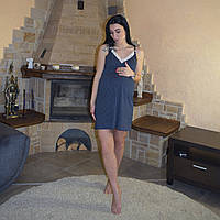 Жіноча нічна сорочка з мереживом для годуючих мам синій р. 44-52