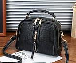 Женская мини сумочка под рептилию, стильная и модная сумка через плечо змеиная, фото 3