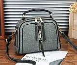 Женская мини сумочка под рептилию, стильная и модная сумка через плечо змеиная, фото 4