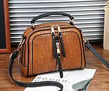 Женская мини сумочка под рептилию, стильная и модная сумка через плечо змеиная, фото 5