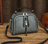 Женская мини сумочка под рептилию, стильная и модная сумка через плечо змеиная, фото 6