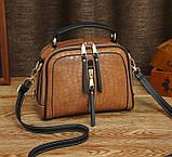 Женская мини сумочка под рептилию, стильная и модная сумка через плечо змеиная, фото 7