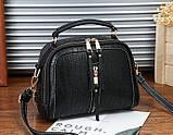 Женская мини сумочка под рептилию, стильная и модная сумка через плечо змеиная, фото 8