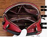Женская мини сумочка под рептилию, стильная и модная сумка через плечо змеиная, фото 9