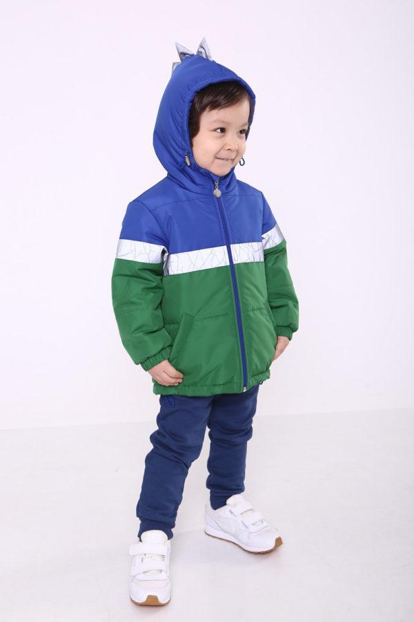 """Куртка осень весна """"Дино"""" для мальчика зеленая 86"""