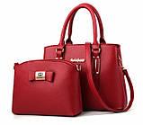 Набір жіноча сумка + міні сумочка клатч. Комплект 2 в 1 велика і маленька сумка на плече., фото 2