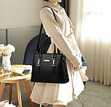 Набір жіноча сумка + міні сумочка клатч. Комплект 2 в 1 велика і маленька сумка на плече., фото 7