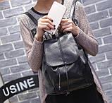 Рюкзак жіночий чорний кожзам, фото 3