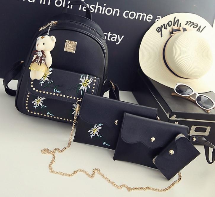 Жіночий рюкзак сумочка гаманець візитниця набір комплект рюкзачок сумка гаманець