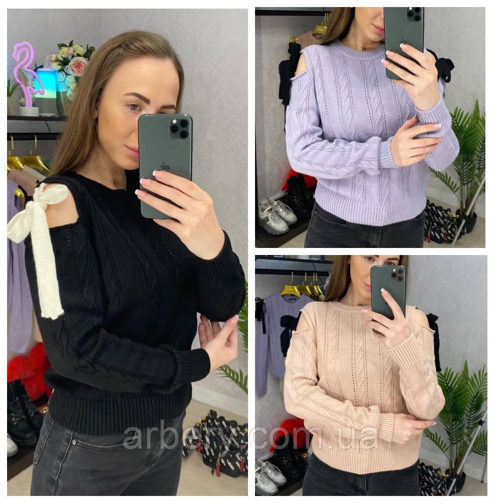 Женский вязанный свитер с бантиком