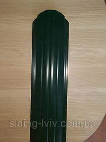 Штахети металеві 105 мм Зелений глянець 2х сторонній