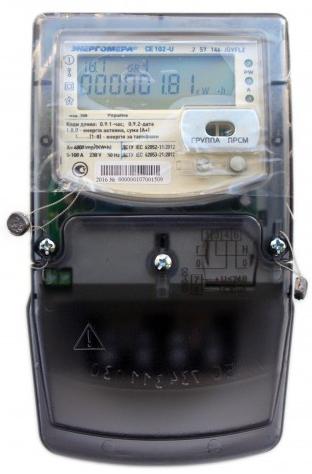 Лічильник однофазний з дисплеєм багатотарифний CE102-U S6 145-AV 5-60А