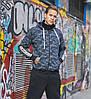 Мужская утепленная куртка из трикотажа тринитка с начесом, с капюшоном и воротником, цвет: синий камуфляж, фото 3