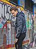 Мужская утепленная куртка из трикотажа тринитка с начесом, с капюшоном и воротником, цвет: синий камуфляж, фото 4