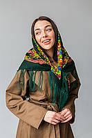 Хустка вовняної з бахромою (Туреччина) зелений, фото 1