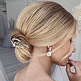 Свадебная шпилька золотая жемчужная веточка для волос белая украшение для волос невесты шпилька в причёску, фото 5