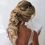 Свадебная шпилька золотая жемчужная веточка для волос белая украшение для волос невесты шпилька в причёску, фото 4