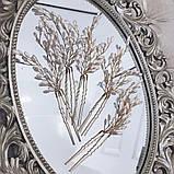 Свадебная шпилька золотая жемчужная веточка для волос белая украшение для волос невесты шпилька в причёску, фото 3